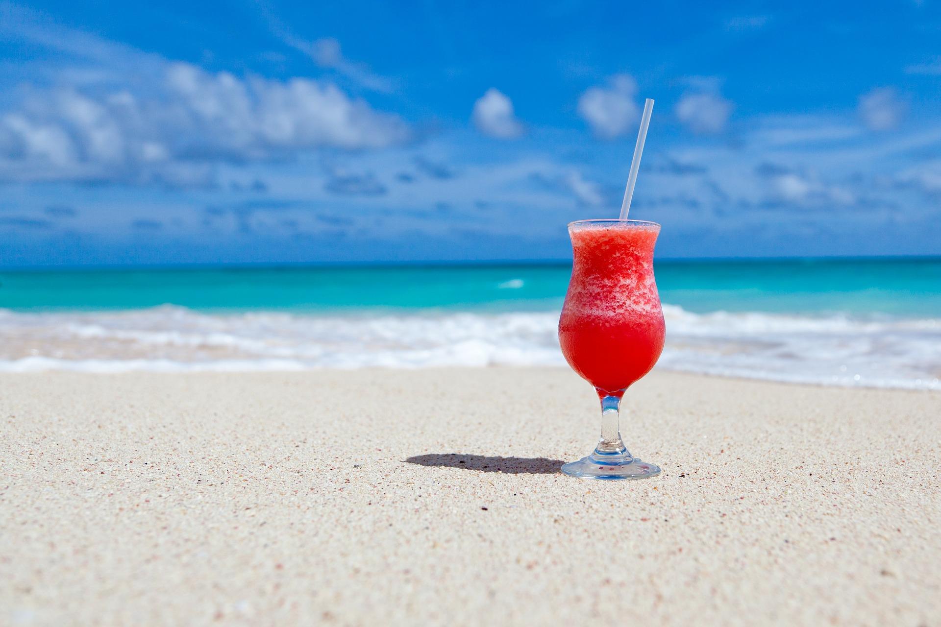 a cocktail on a a beach